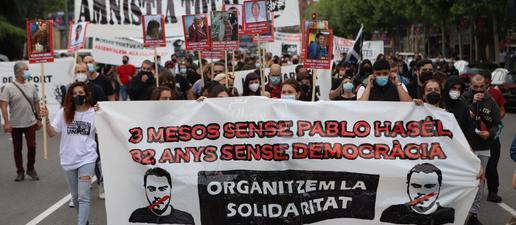Manifestació a Lleida pels tres mesos de l'empresonament de Hasel