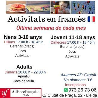 Activitats en francès a Alliance Française de Lleida