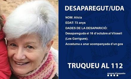 Troben sana i estàlvia la dona de 73 anys desapareguda al Vilosell