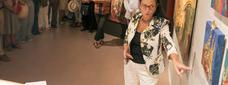 L'artista Mariona Millà durant la presentació de l'exposició 'Diàlegs amb el patrimoni'. / X. Santesmasses